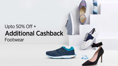 50% off + Additional Upto 50% Cash Back on footwear