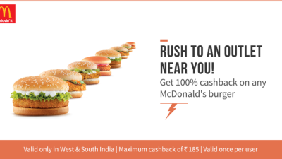 100% Cash Back on Any McDonald's Burger