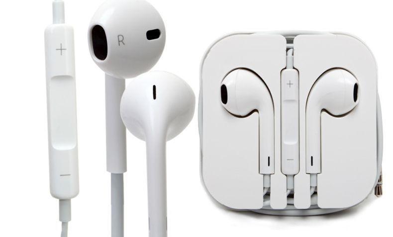 two apple ear phones